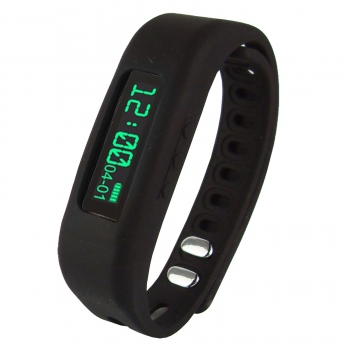 "Supersonic 0.91"" Fitness Wristband With Bluetooth Pedometer, Calorie Counter and More-Black"