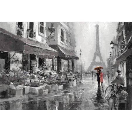 Red Umbrella Romantic French Couple Walking in Paris Street Print Wall Art By Brent