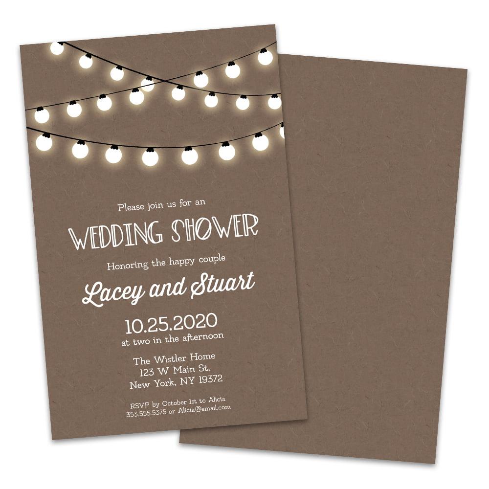 Walmart Com Wedding Invitations: Personalized Kraft Lights Wedding Shower Invitation