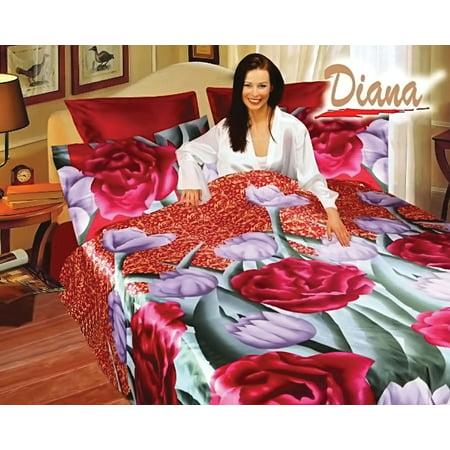 - Queen Bed Silk Satin Bedding Floral Duvet Cover Set Diana DI280Q
