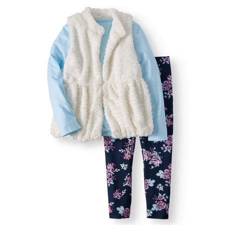 Faux Fur Peplum Vest, Long Sleeve Tee, and Legging, 3-Piece Outfit Set (Little Girls & Big Girls)
