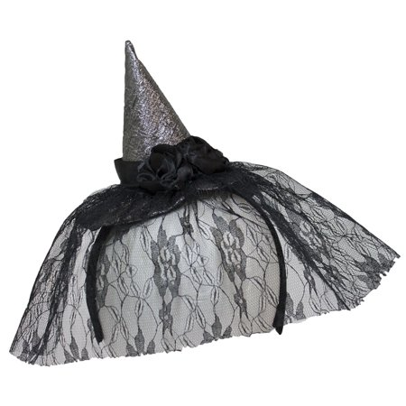 Mini Witch Hat Headband (Mini Silver Witch Hat Headband w/ Flowers and Lace)