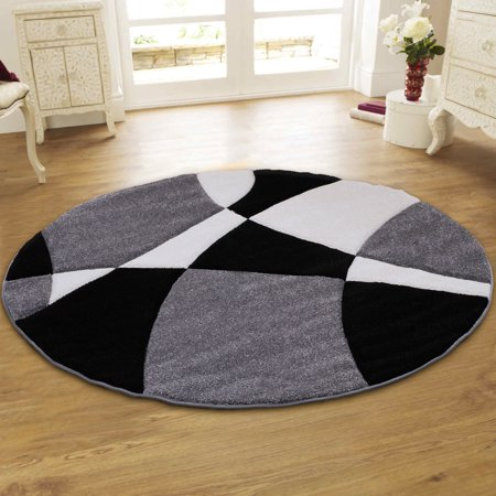 Allstar Grey Round Modern Geometric Formal Abstract Area Rug (5' 5