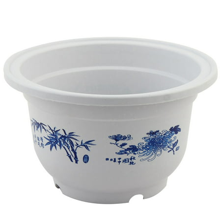 Living Room Plastic Floral Pattern Cactus Flower Plant Container Pot White