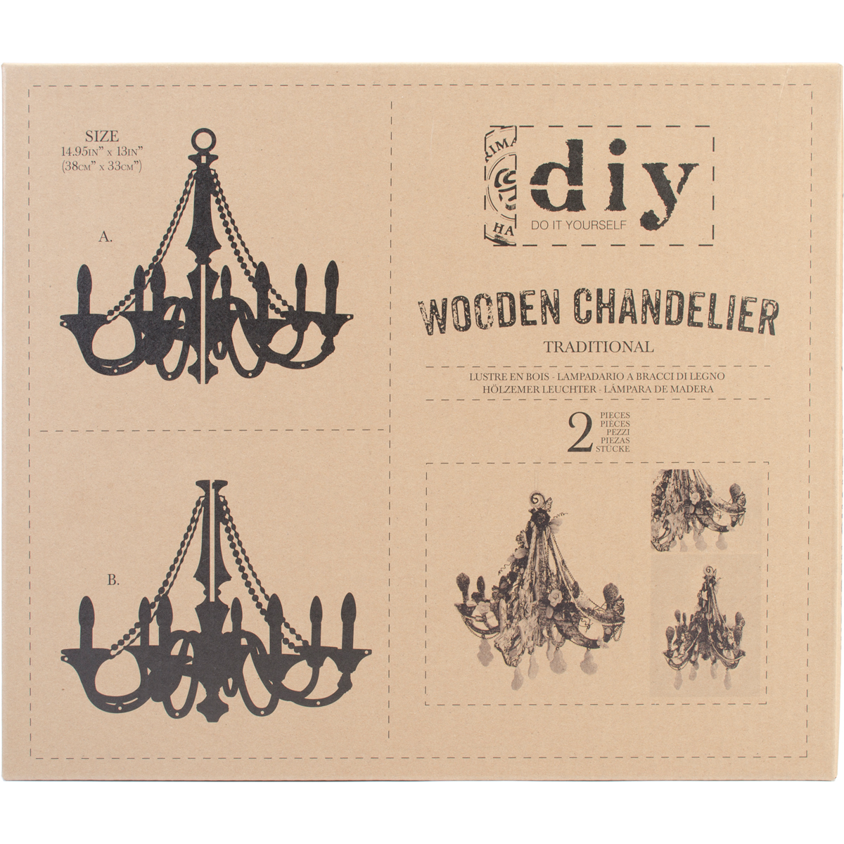 "Prima Marketing DIY Wooden Chandelier, Traditional, 14.9"" x 13"""