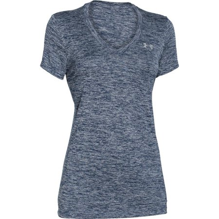 Under Armour Womens Size Medium UA HeatGear® Armour Short Sleeve V-Neck Shirt, Purple/Silver (Under Armour Womens 3 4 Sleeve)