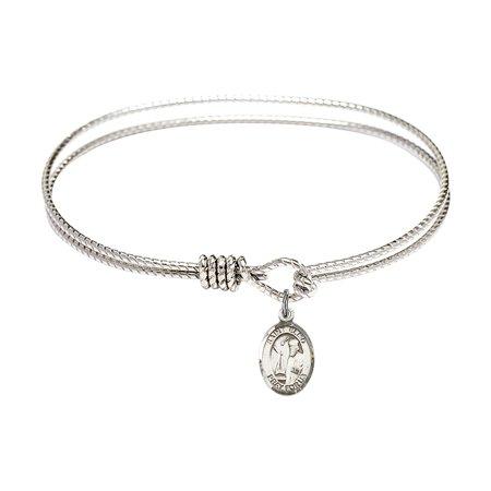 7 1/4 inch Oval Eye Hook Bangle Bracelet w/ St. Elmo charm Sterling Silver Medal ()