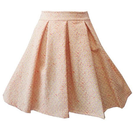 Flared Kids Skirt - Little Girls Yellow Polka Dot Patterned Pleated Flared Stylish Skirt