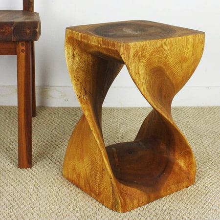 HAUSSMANN Twist Stool 10x10x18 inch Ht Sust Monkey Pod Wood in Eco Friendly Oak Oil (Country Oak Wood)