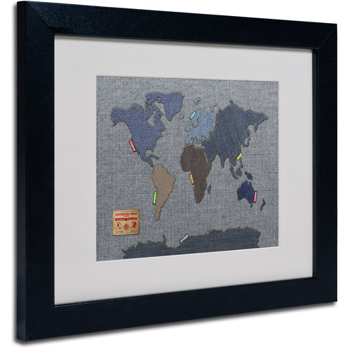 "Trademark Fine Art ""Denim World Map"" Matted Framed Art by Michael Tompsett"