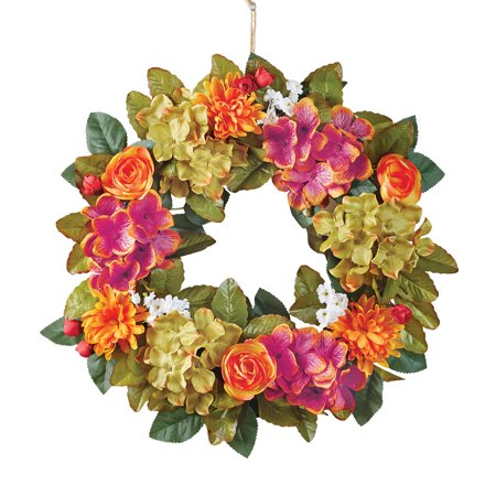 Hydranga Fall Wreath with Mums and Roses Floral Accents for Front Door or Indoor, Artifical Floral, Green, Purple, Orange, Yellow (Floral Door Wreaths)