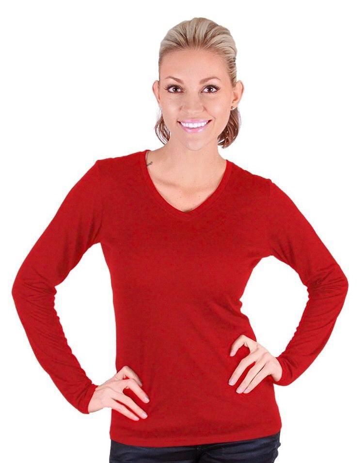 Seg'ments Womens Australian Merino Wool Long Sleeve Shirt (Red, XX-Large) by