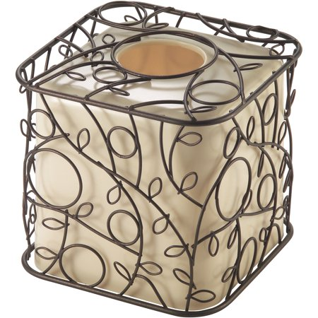 InterDesign Twigz Tissue Box Cover, Vanilla/Bronze