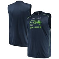 Men's Majestic College Navy Seattle Seahawks Big & Tall Endurance Test Muscle Tank Top