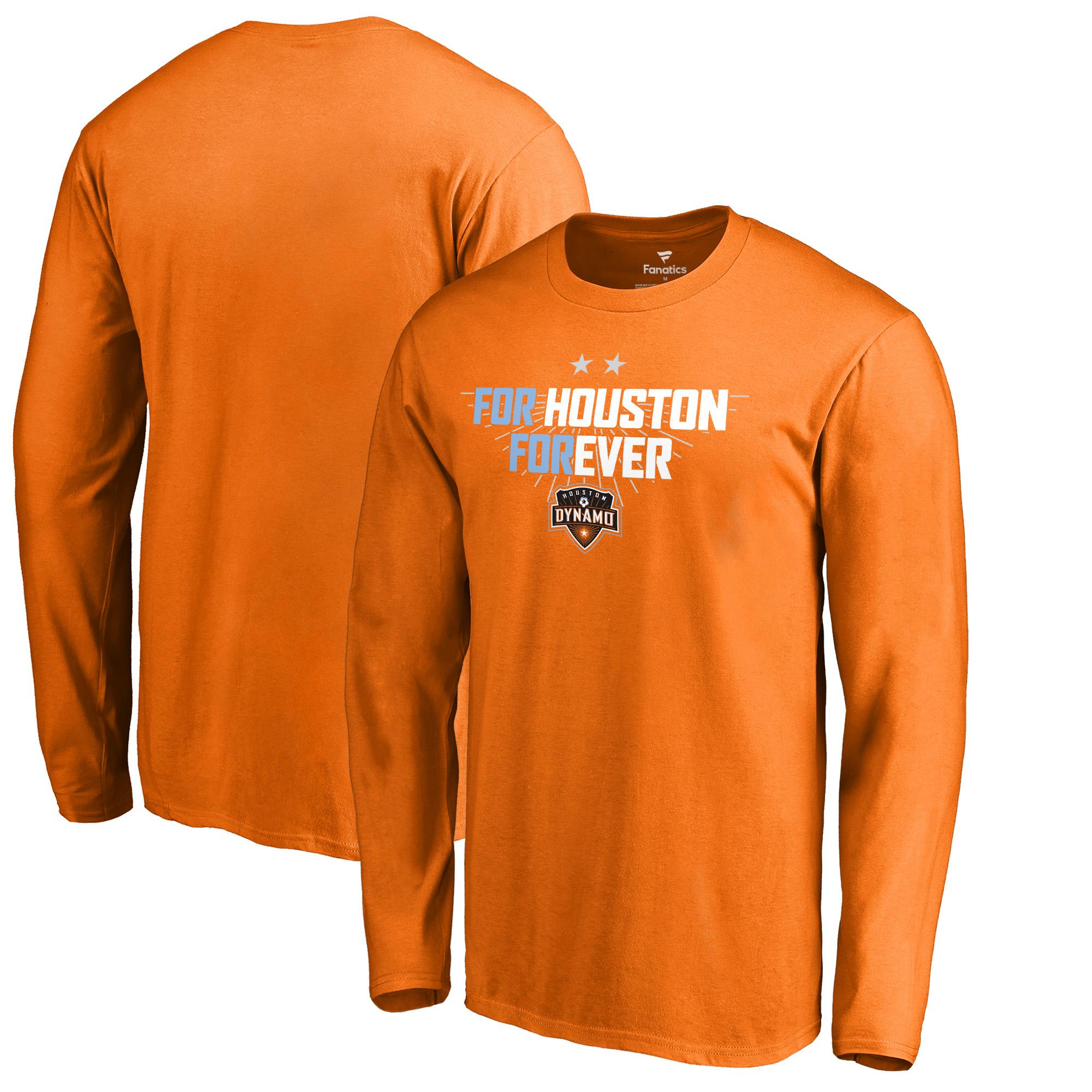 Houston Dynamo Fanatics Branded For Houston Long Sleeve T-Shirt - Tenn Orange