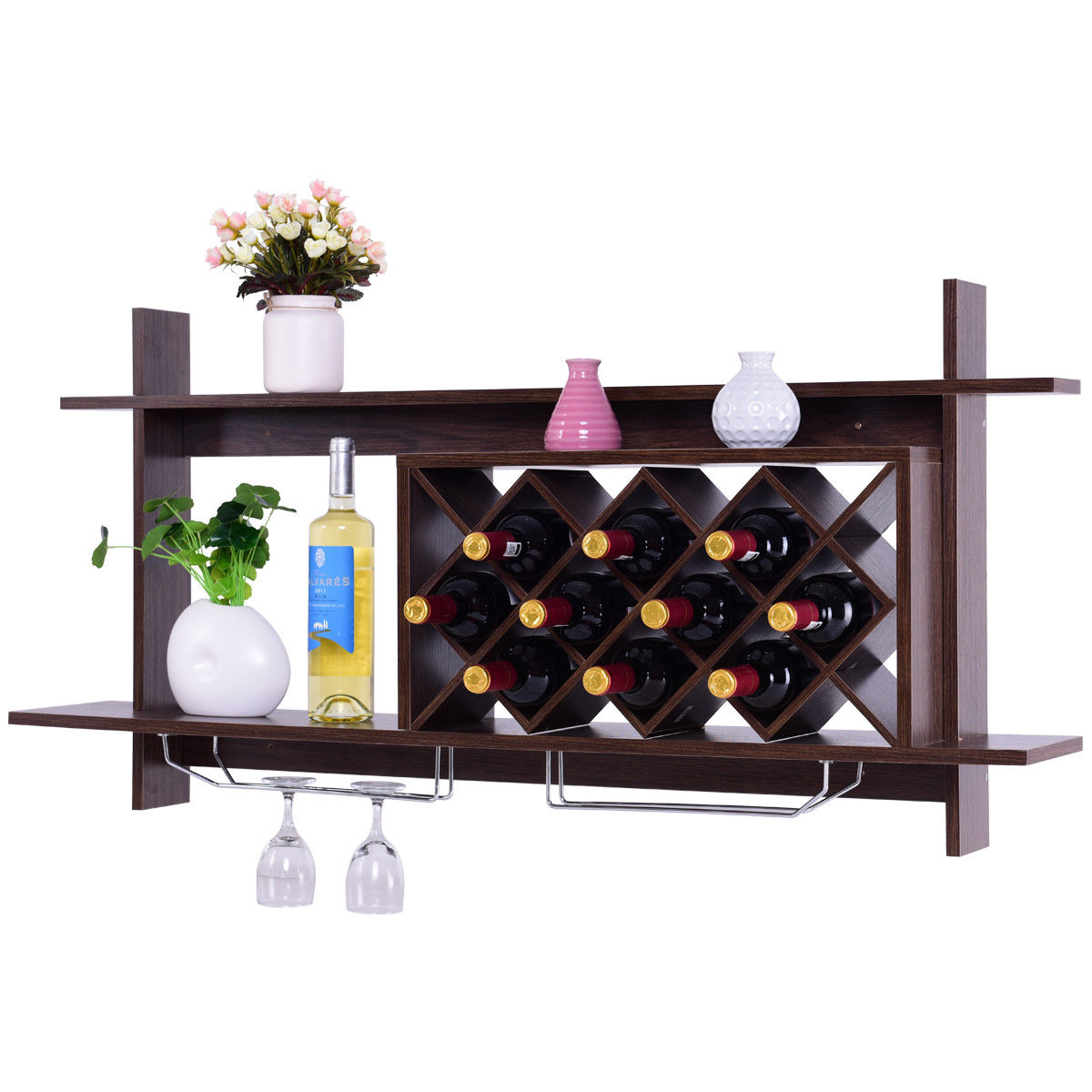 Gymax Wall Mount Wine Rack Organizer With Glass Holder & Storage Shelf Home Decor