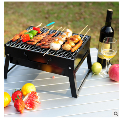 Black BBQ Portable Barbecue Stove Outdoor Cooking Picnic Camping Wood Charcoal Grill Box