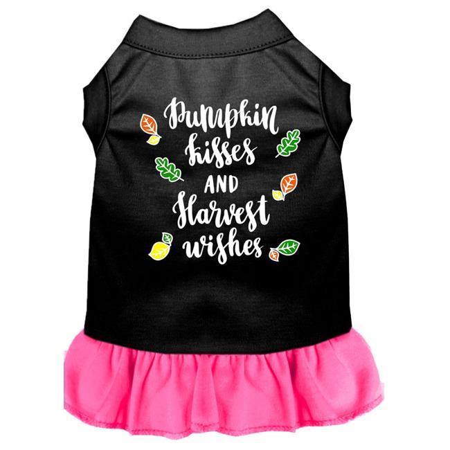 Pumpkin Kisses Screen Print Dog Dress Black With Bright Pink Sm (10) - image 1 de 1