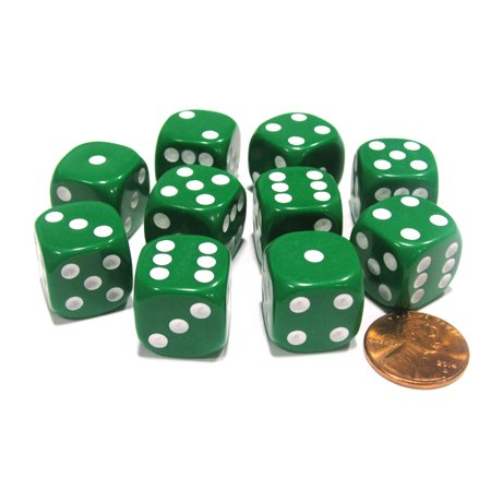 Koplow Games Set of 10 Six Sided Round Corner Opaque 16mm D6 Dice - Green with White Pips #11472