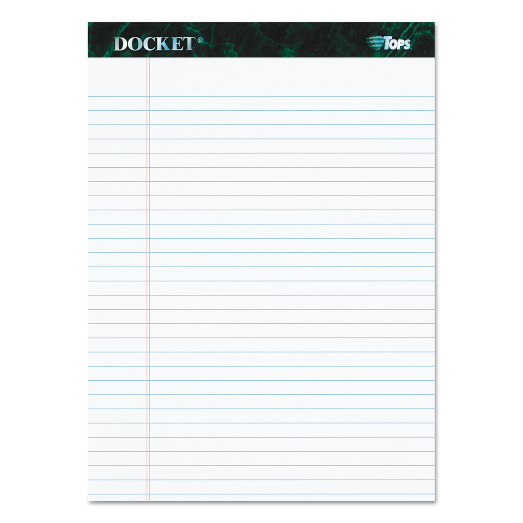 TOPS Docket Ruled Perforated Pads, 8 1/2 x 11 3/4, White, 50 Sheets, Dozen