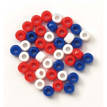 Darice USA Red White Blue Plastic Pony Beads, 9mm, 720 Pieces](Red Plastic Beads)