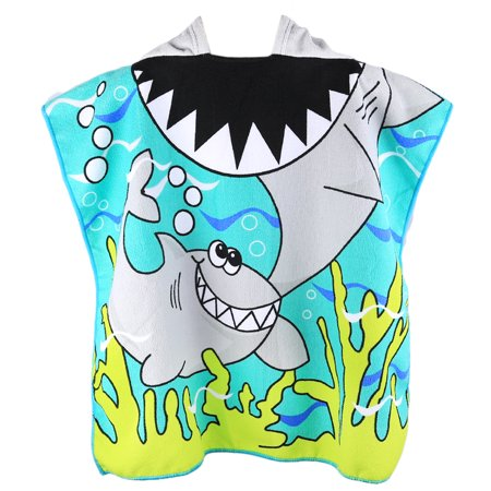Cartoon Sandbeach Hooded Bath Towel for Children Superfine Fiber Unisex Towel Cloak Beach Blanket - -
