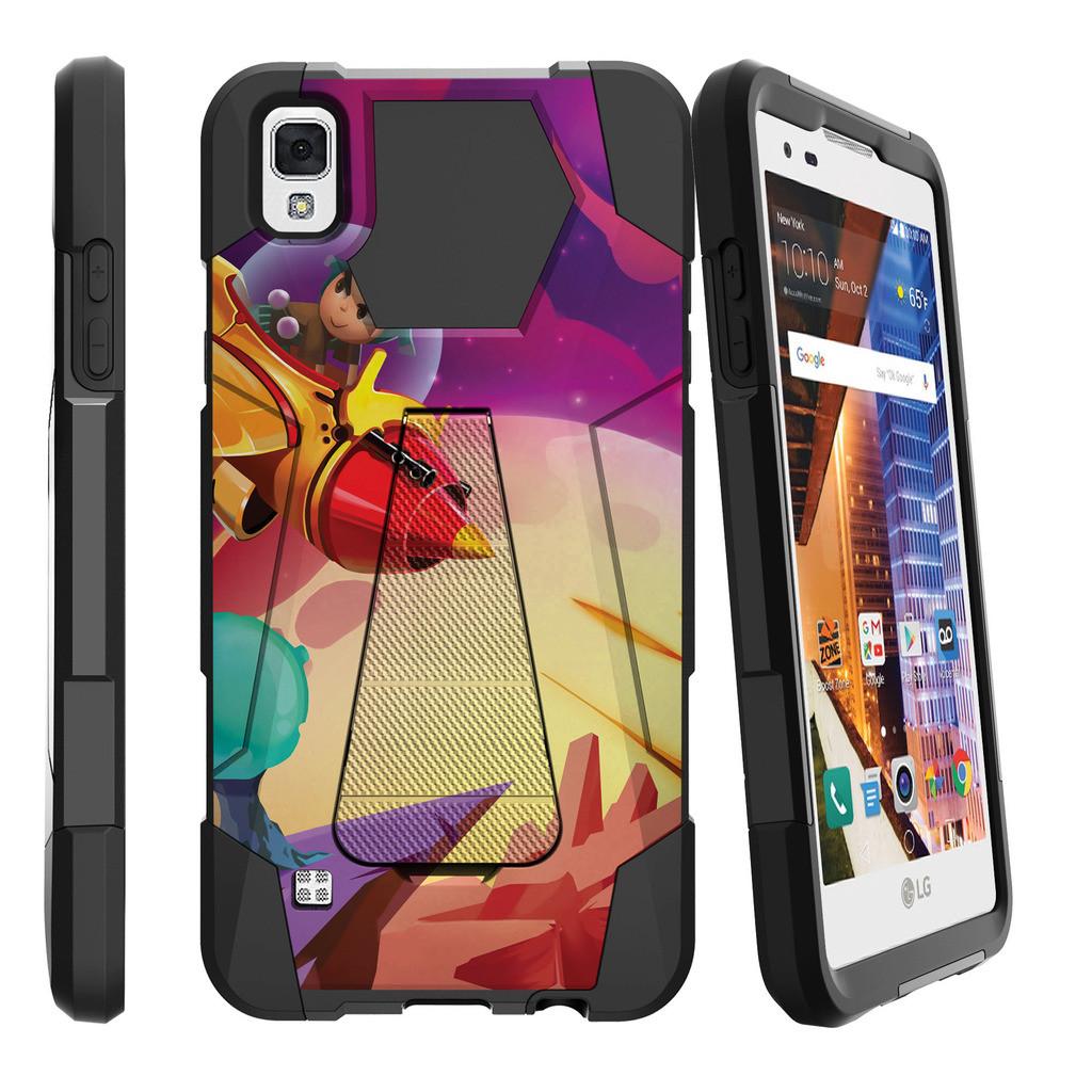 LG Volt 3, LG Tribute HD, LG X Style Shock Fusion Heavy Duty Dual Layer Kickstand Case -  Superhero Couple