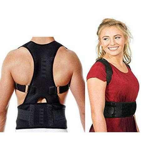 Fully Adjustable Magnetic Orthopedic Back Brace Posture Corrector For Men Women w Lumbar Support Belt - Shoulder, Neck, Upper Lower Back Pain Relief - Best Straightener Trainer Improves Upright