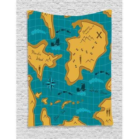 Island Map Decor Tapestry  Historical Adventure Map With Sail Boats Route Track Graphic Art Work  Wall Hanging For Bedroom Living Room Dorm Decor  40W X 60L Inches  Orange Blue  By Ambesonne
