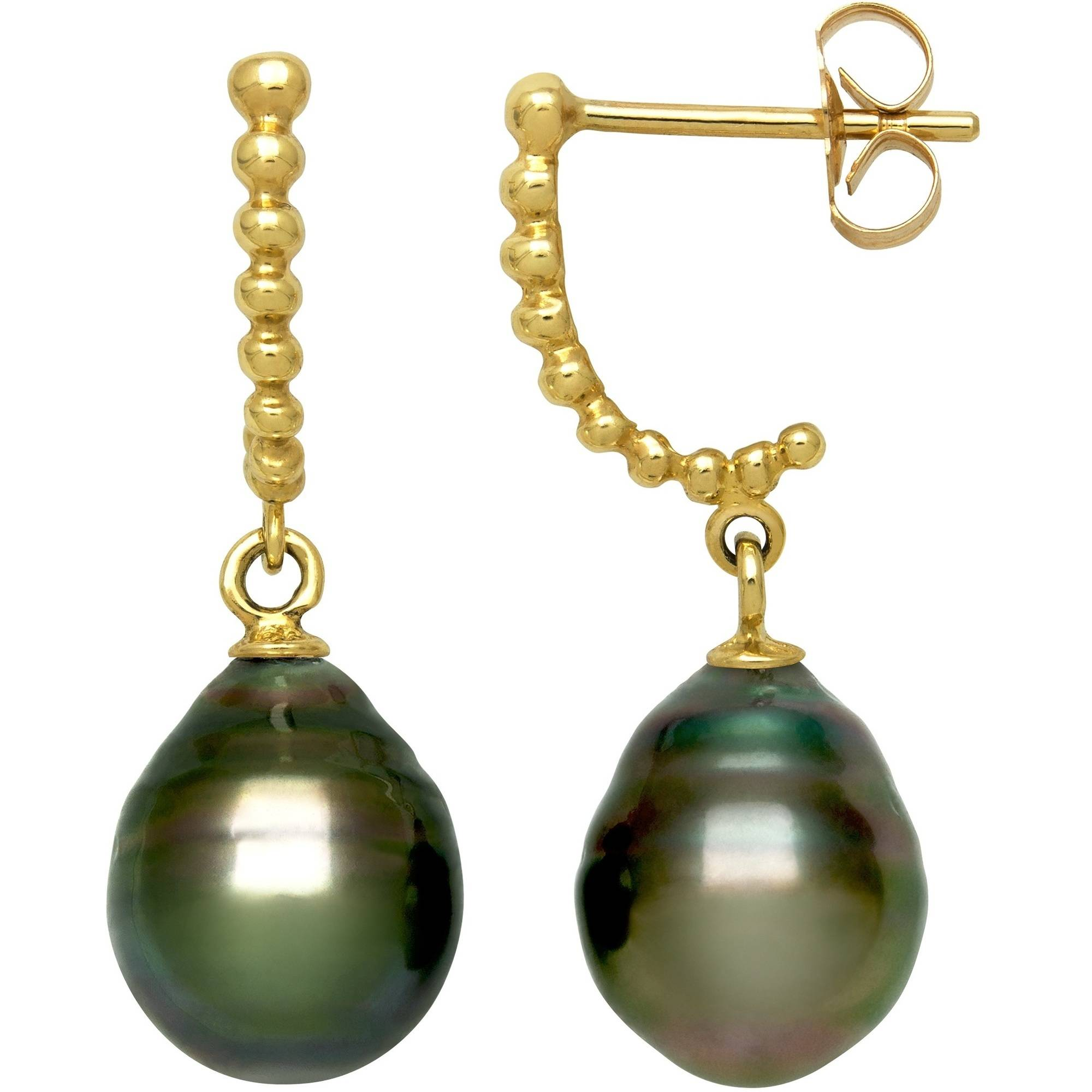 8-9mm Drop Tahitian Black Pearl 14kt Yellow Gold Beaded Drop Earrings by China Pearl