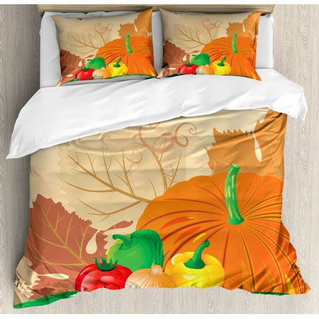 Harvest Queen Size Duvet Cover Set  Vibrant Fresh Vegetables On Grunge Backdrop Ripe Organic Healthy Food Agriculture  Decorative 3 Piece Bedding Set With 2 Pillow Shams  Multicolor  By Ambesonne