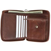 Genuine leather men's ziparound credit card coin wallet Burgundy color