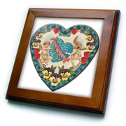 3dRose Heart Shaped Victorian Valentine with a Blue Heart and Cupids - Framed Tile, 6 by 6-inch