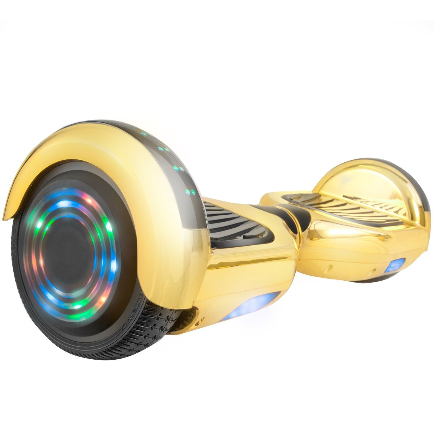 "Hoverboard UL2272 Certified 6.5"" Flash Wheel Bluetooth Speaker with LED Light Self Balancing Wheel Electric Scooter - Chrome Gold"