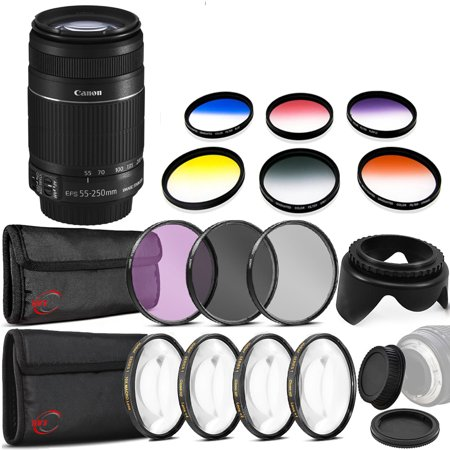 Canon EF-S 55-250mm f/4-5.6 IS II Lens for Canon EOS Rebel Cameras with Graduated Color Filters + Macro Filter Set + Tulip Lens Hood + More Accessories