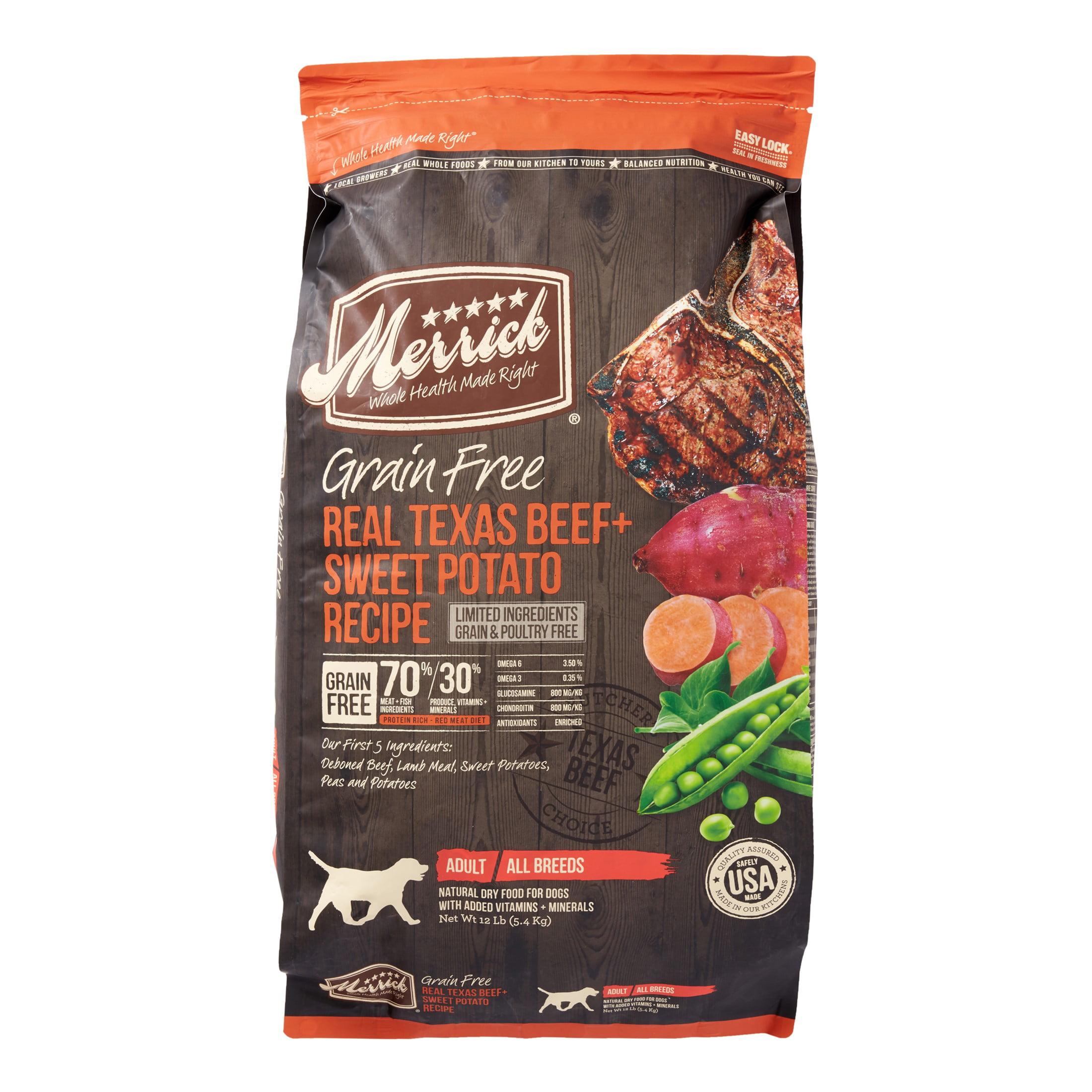 Merrick Grain-Free Real Texas Beef + Sweet Potato Recipe Dry Dog Food, 12 lb