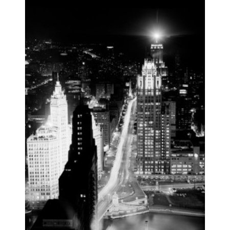Usa Illinois Chicago Night View From Prudential Building Poster Print