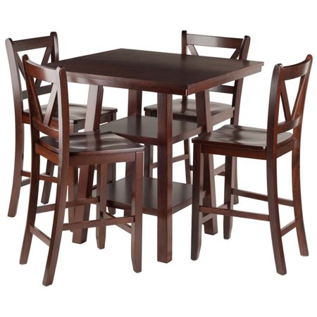 Pemberly Row 5 Piece Square Counter Height Dining Set in Walnut ()