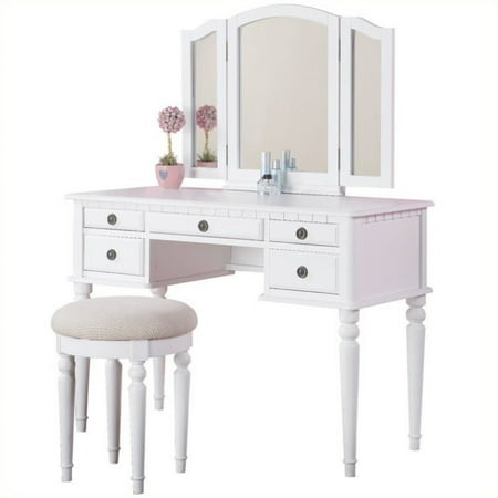 Bobkona St. Croix 3 Fold Mirror Vanity Table with Stool Set in White