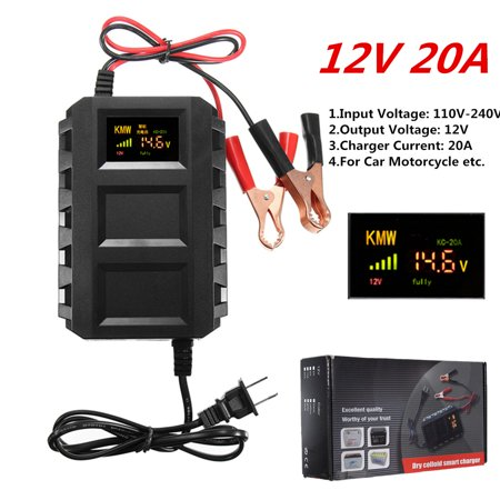 Digital Color LCD Display 12V AC 20A Smart Automotive Car Battery Dead Battery Engine Starter Jump Starter Power For 12V Car, Motorcycle Van Mower, Boat, RV, SUV, (Best Boat Battery Charger)