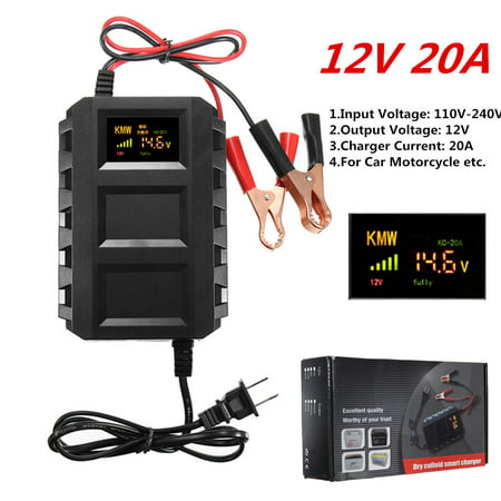 Digital Color LCD Display 12V AC 20A Smart Automotive Car Battery Dead Battery Engine Starter Jump Starter Power For 12V Car, Motorcycle Van Mower, Boat, RV, SUV,