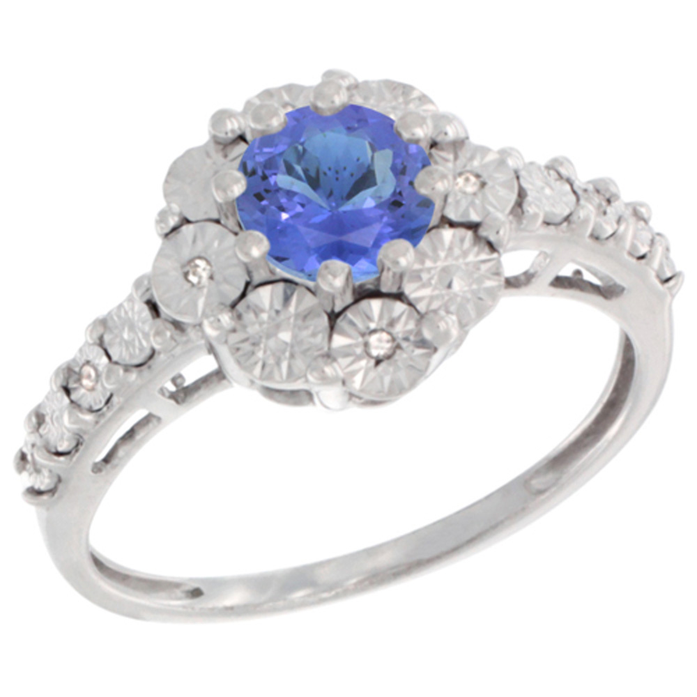 Sterling Silver Natural Tanzanite Ring Round 5x5, Diamond Accent, sizes 5 10 by WorldJewels
