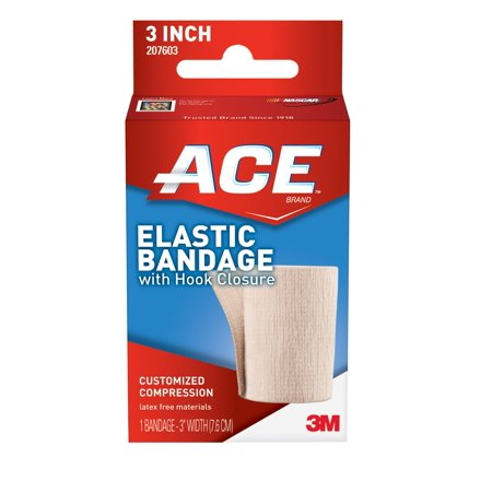 ACE Brand Elastic Bandage with Hook Closure, 3 in., Beige, 1/Pack Ace Bandage Ankle Support