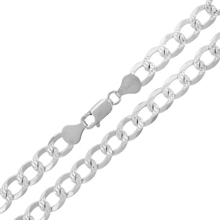 Silver Pave Curb Chain - .925 Sterling Silver 7.5mm Solid Cuban Curb Link Diamond Cut Pave ITProLux Necklace Chain 20