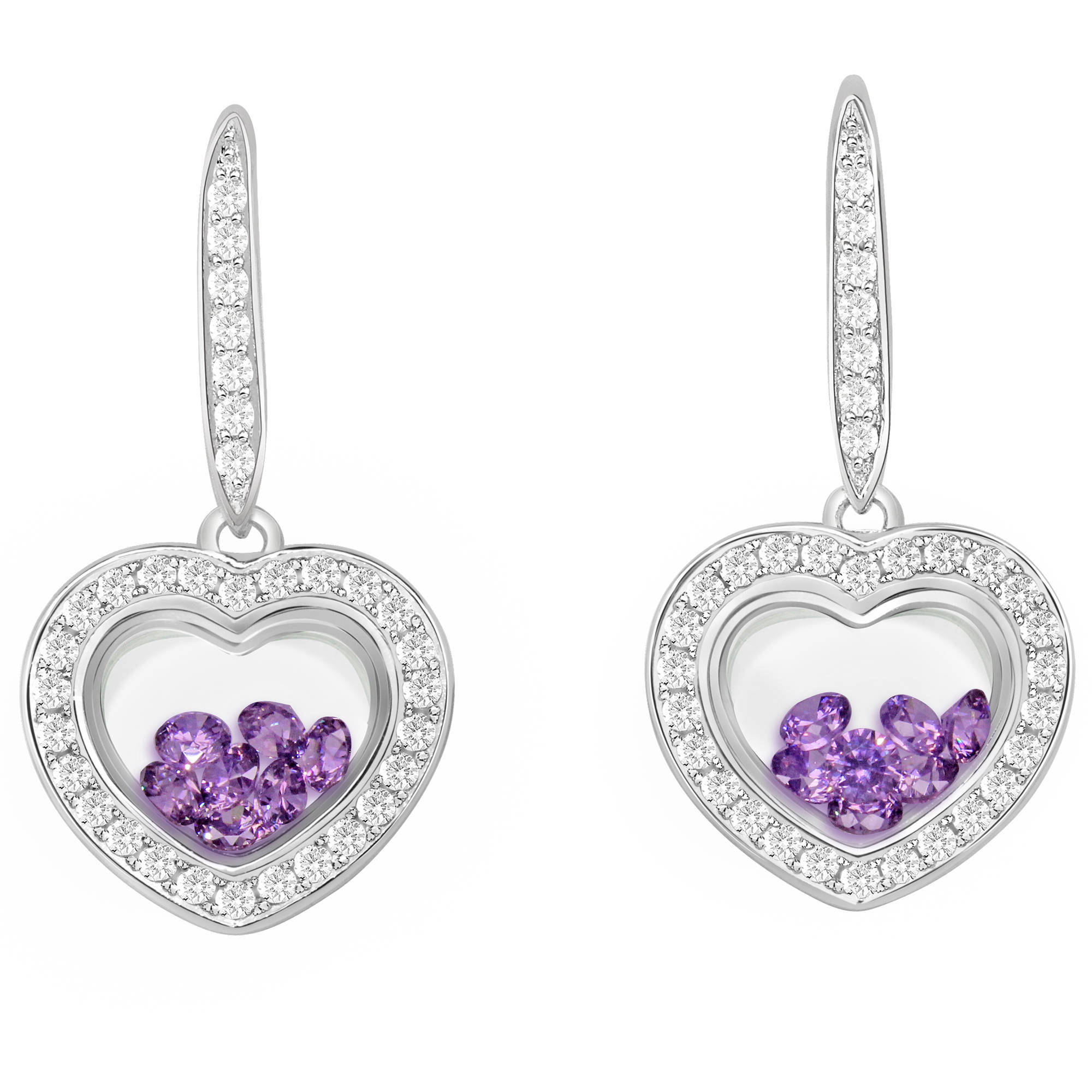 Chetan Collection Floating Purple CZ Sterling Silver Designer Heart-Shape Earrings