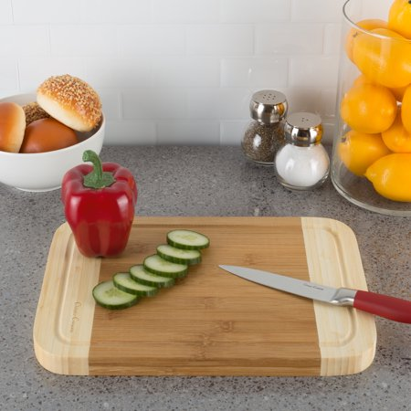 Two Tone Bamboo Cutting Board- Extra Thick, Eco Friendly and Antibacterial Chopping and Serving Board with Juice Groove by Classic Cuisine ()