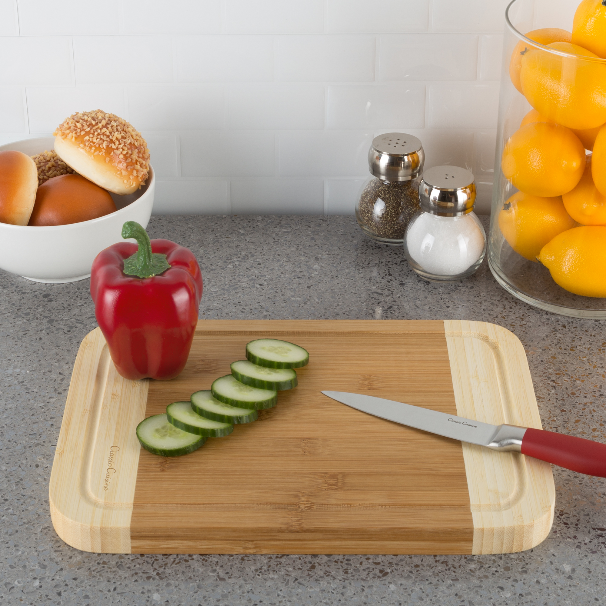 Two Tone Bamboo Cutting Board- Extra Thick, Eco Friendly and Antibacterial Chopping and Serving Board with Juice Groove by Classic Cuisine
