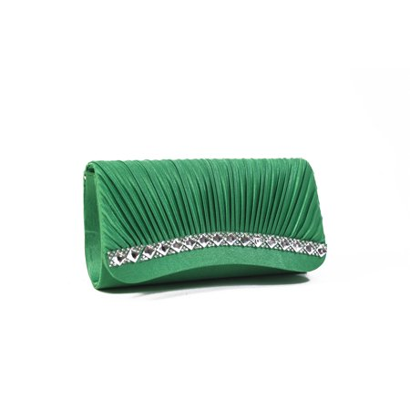 Layers Pleated Clutch - Pleated Satin Rhinestone Evening Clutch Handbag Purse