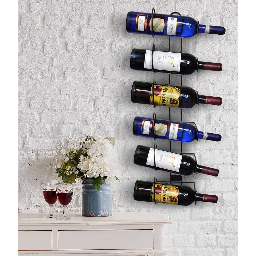 Sorbus Wall Mount Wine Rack, Holds 6 Bottles of Wine or Champagne