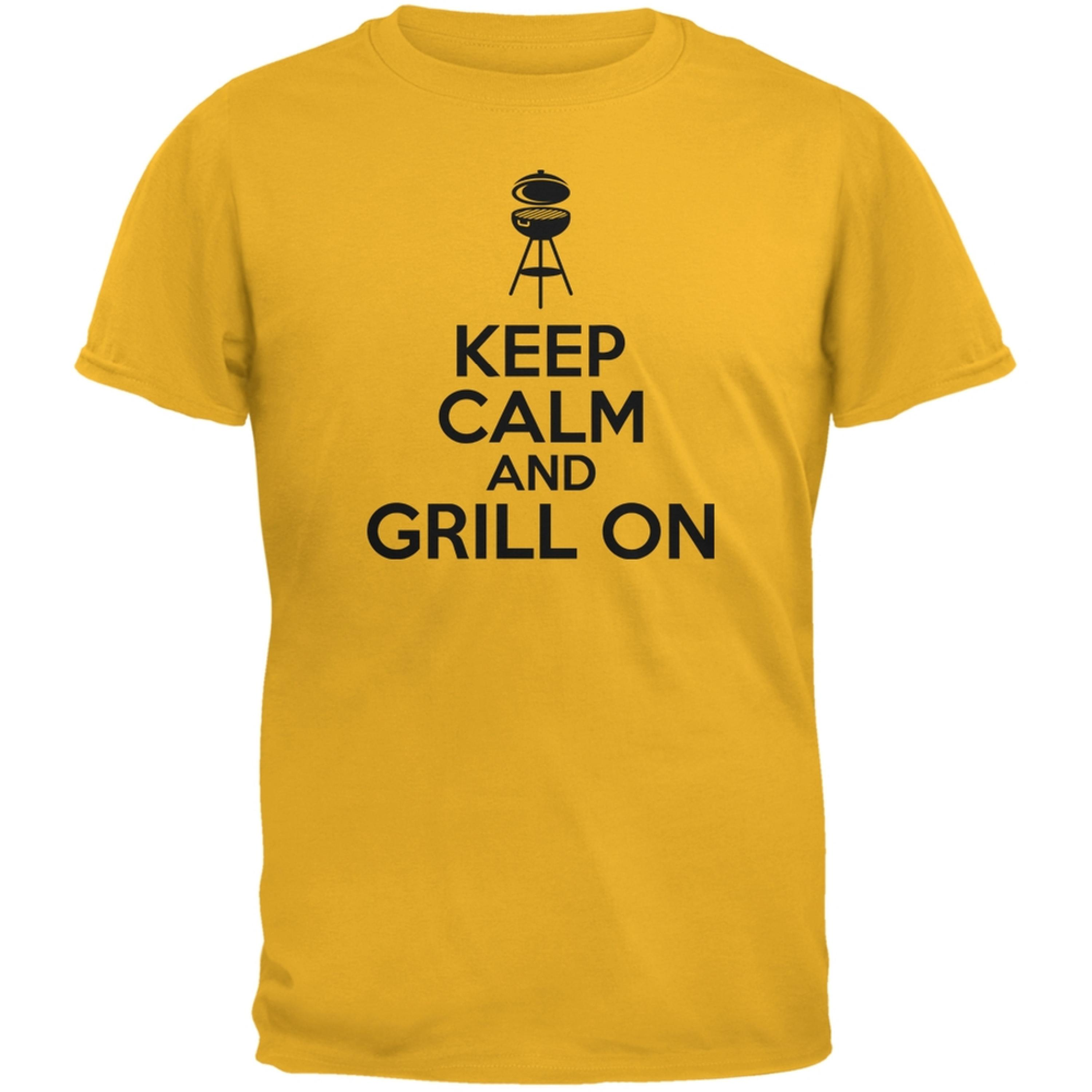 Keep Calm Grill On Gold Adult T-Shirt